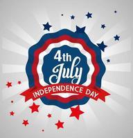 4 juli glad självständighetsdagen spets emblem vektor