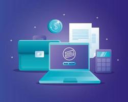internetbank koncept med bärbar dator och ikoner vektor