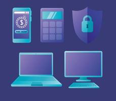 online bank ikonuppsättning vektor