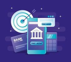 internetbank koncept med smartphone och ikoner vektor