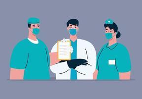medicinsk personal med ansiktsmasker på koronaviruspandemi vektor