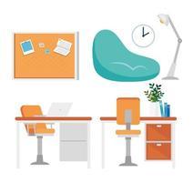 Home Office und Dekor Icon Set vektor