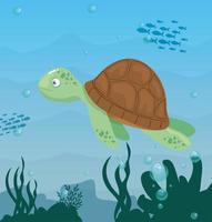 Schildkröte im Ozean, Meeresweltbewohner, niedliche Unterwasser-Kreatur vektor