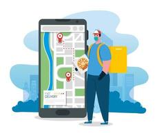 online-leveransservice koncept, under coronavirus 2019 ncov, arbetare med smartphone vektor
