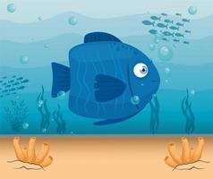 süßer Fisch im Ozean, Meeresweltbewohner, niedliche Unterwasser-Kreatur vektor