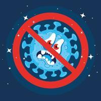 Cartoon-Coronavirus-Charaktere mit verbotenem Zeichen vektor