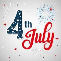 4 Juli glücklichen Unabhängigkeitstag mit Dekoration vektor