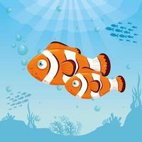 Clownfisch im Ozean, Meeresweltbewohner, niedliche Unterwasser-Kreatur vektor