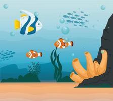 Fische im Ozean, Meeresweltbewohner, niedliche Unterwasser-Kreatur vektor