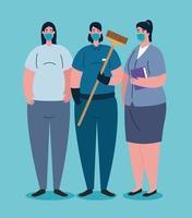 viktiga arbetare med ansiktsmasker på koronaviruspandemi vektor