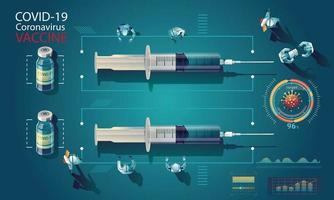 Das medizinische Team und der Wissenschaftler haben den Covid-19-Impfstoff, den Labortest, die Spritze und eine Impfstoffflasche entdeckt, die an dem Test arbeiten. Impfstoffentwicklung bereit für die Behandlung Illustration, Vektor flaches Design