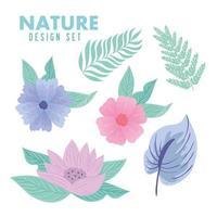 Natur gesetzt mit Blumen und Blättern auf Pastellfarben