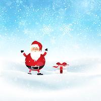 Santa och gåva i snöigt landskap vektor