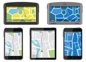 GPS-Navigationssystem-Vektorentwurfillustration lokalisiert auf weißem Hintergrund vektor