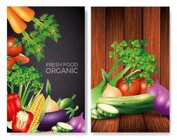 Satz frisches Bio-Gemüse, gesundes Essen, gesunde Lebensweise oder Ernährung vektor