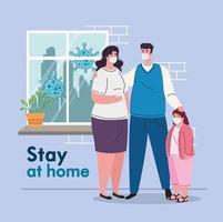 stanna hemma och karantän koncept mot coronavirus vektor