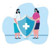 Kampf gegen das Coronavirus-Konzept mit Frauen, die Gesichtsmasken mit Schild tragen vektor