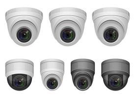 Überwachungskamera-Vektorentwurfsillustration lokalisiert auf weißem Hintergrund vektor