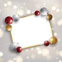 Jul bakgrund med kulor och tomt utrymme för text vektor