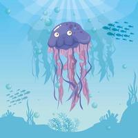 Quallen im Ozean, Meeresweltbewohner, niedliche Unterwasser-Kreatur vektor