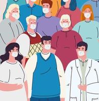 Gruppe von Menschen mit medizinischen Masken gegen Coronavirus vektor