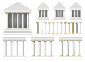 antike Säulen und Tempelvektorentwurfsillustrationssatz lokalisiert auf weißem Hintergrund vektor