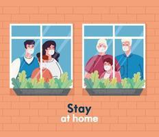 stanna hemma banner med familjer vid fönstret vektor