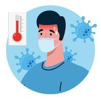 Mann, der eine Gesichtsmaske mit hohem Fiebersymptom des Coronavirus trägt vektor