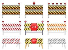 Stop-Barriere-Vektor-Design-Illustrationssatz isoliert auf weißem Hintergrund