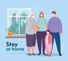 zu Hause bleiben und Konzept gegen Coronavirus unter Quarantäne stellen vektor