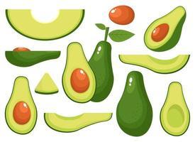 frische Avocado Vektor Design Illustration Set isoliert auf weißem Hintergrund