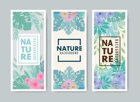 pastellfärg natur kortuppsättning vektor