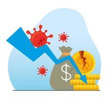 Coronavirus ekonomi kollaps koncept vektor
