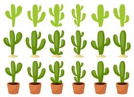 Kaktus Set Vektor Design Illustration Set isoliert auf weißem Hintergrund