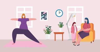 kvinna gör yoga i vardagsrummet av sin familj för koronavirus karantän vektor