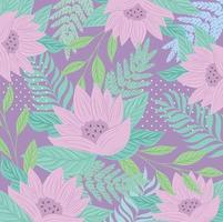blommor och blad på pastellfärgade bakgrund vektor