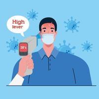 temperaturkontroll med digital infraröd termometer för koronaviruspandemi vektor