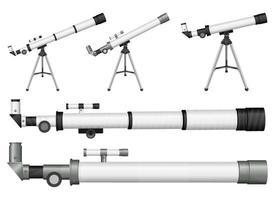 Teleskopvektorentwurfsillustrationssatz lokalisiert auf weißem Hintergrund vektor