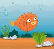 Blowfish im Ozean, Meeresweltbewohner, niedliche Unterwasser-Kreatur vektor
