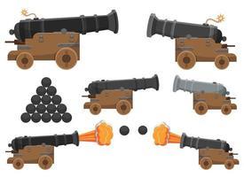 alter Kanonenvektorentwurfsillustrationssatz lokalisiert auf weißem Hintergrund vektor
