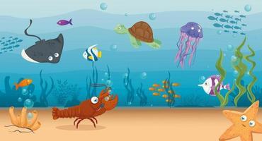 Meeresleben Hintergrund vektor