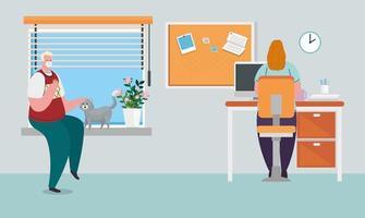 Prävention von Coronaviren im Home Office mit einer Frau, die von ihrem Ehemann arbeitet vektor