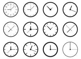 Uhrvektor-Entwurfsillustrationssatz lokalisiert auf Hintergrund vektor