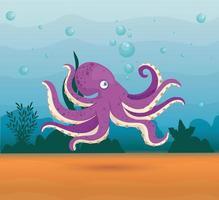 bläckfisk i havet, havsvärlden, söt varelse under vattnet vektor