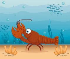 Hummer im Ozean, Meeresweltbewohner, niedliche Unterwasser-Kreatur vektor