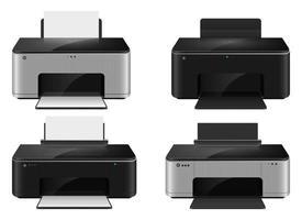 realistische Tintenstrahldrucker-Vektorentwurfsillustration isoalted auf weißem Hintergrund