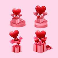 Alla hjärtans dag koncept. rosa presentask öppen på stativ. full av hjärtan och dekorativt festligt objekt. vektor illustration.