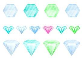 Diamantvektor-Entwurfsillustrationssatz lokalisiert auf weißem Hintergrund vektor