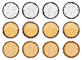 Querschnitt des hölzernen Baumvektorentwurfsillustrationssatzes lokalisiert auf weißem Hintergrund vektor