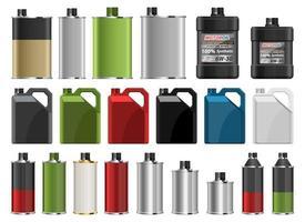 Motorölflasche Vektor Design Illustration Set isoliert auf weißem Hintergrund